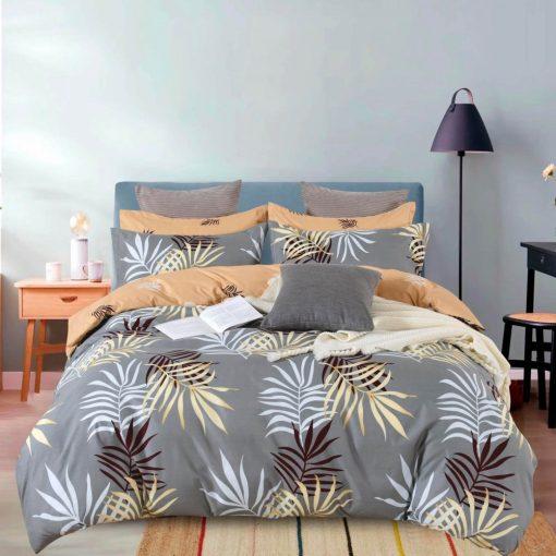 Levél pamut ágyneműhuzat kék fehér pöttyös 7 részes
