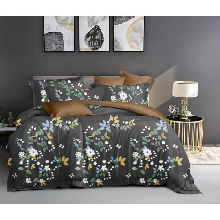 Levél mintás bordó-rózsaszín ágynemű garnitúra
