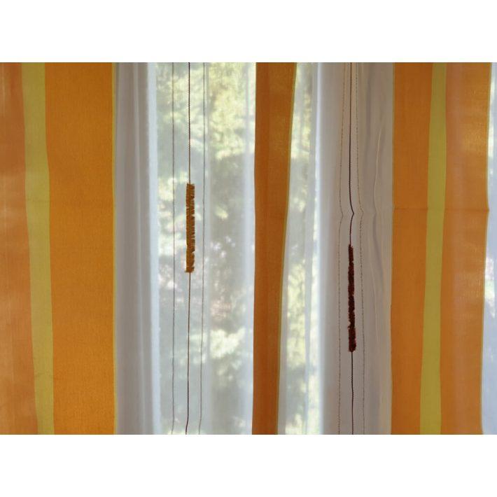 Gitta fényáteresztő Narancs Csíkos Organza Függöny -készre varrt 250 x 250 cm