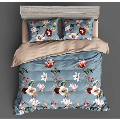 Fehér - piros virágmintás ágynemű garnitúra