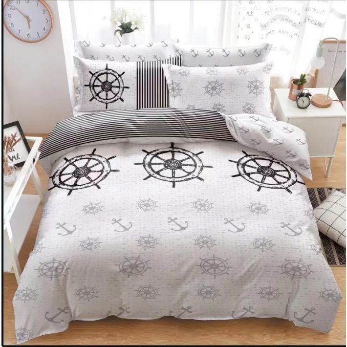 Virágmintás kék Flanel ágyneműhuzat garnitúra  8 részes