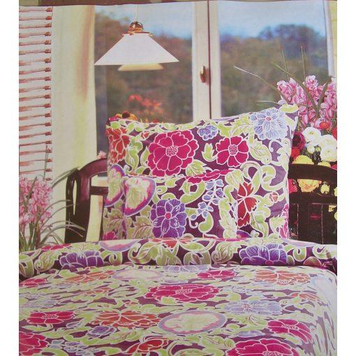 Virágos Rózsaszín lilás Flanel ágynemű garnitúra 8 részes