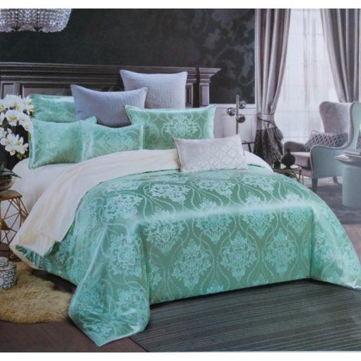 Bonjoure oliva zöld szatén ágynemű garnitúra 7 részes