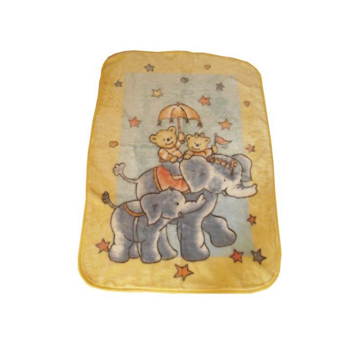 Cuki Maci Sárga Kék Gyerek Pléd Ágytakaró 80 x 110 cm