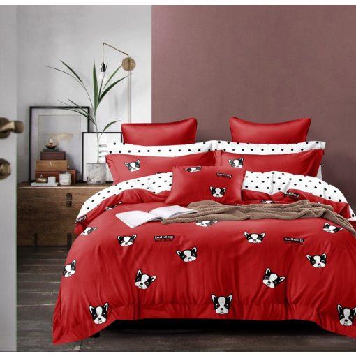 Levica bulldog kutyás piros krepp ágynemű 3 részes