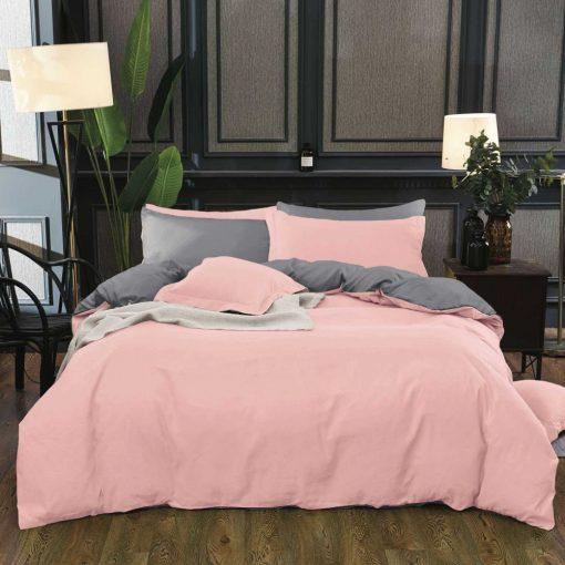 Ping rózsaszín szürke ágynemű 3 részes pamut