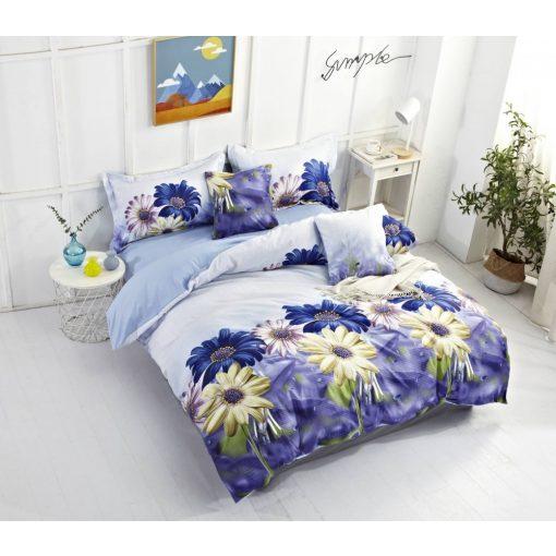 Babarózsa krepp ágyneműhuzat kék margaréta virágos 7 részes