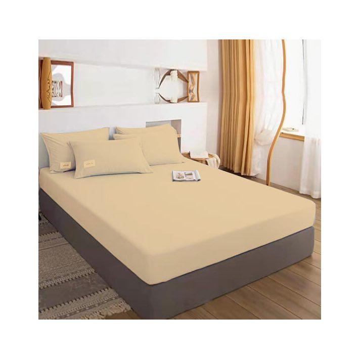 Zimri Bézs Gumis  Pamut Lepedő  200 x 200 cm