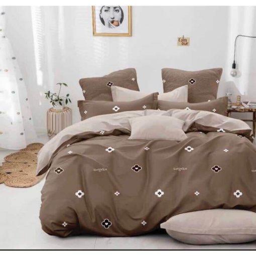 Fabrícia Modern Pamut Ágyneműhuzat 6 részes nagy paplanos barna bézs