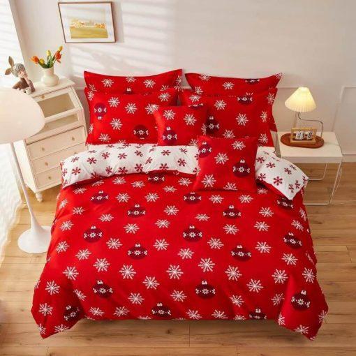 Mézeskalács Karácsonyi Ágyneműhuzat Garnitúra Piros 6 részes