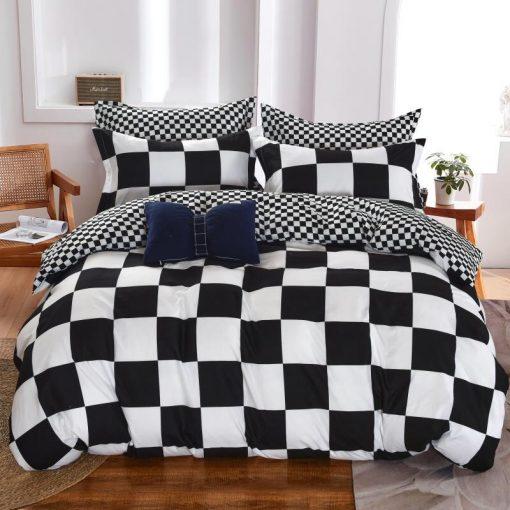 Monte Carlo fekete fehér ágynemű 6 részes nagy paplanos 200 x 220 cm