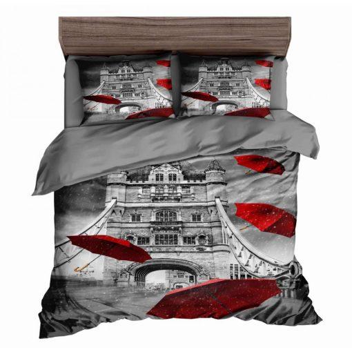 Petal pillangós fekete pamut ágyneműhuzat 3 részes