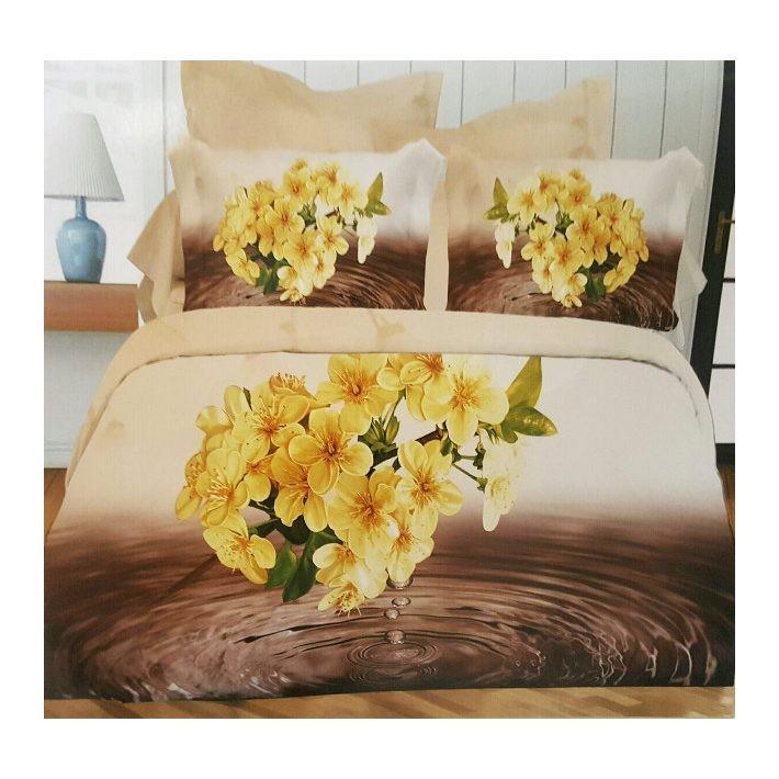 Sárga Virág 3D Virágmintás Ágyneműhuzat 3 részes